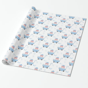 Stroller Baby Shower Wrapping Paper Zazzle