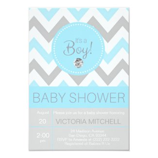 Cute 'It's a Boy' Blue/Grey Chevron Baby Shower Card
