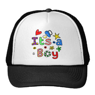Cute Its A Boy Greeting Text Expression Trucker Hat