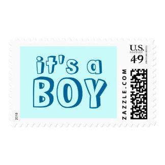 Cute It's a Boy Mint Blue Stamps