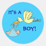 Cute ITS A BOY Newborn Baby Stork Blue Classic Round Sticker