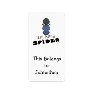 cute itsy bitsy spider cartoon character label
