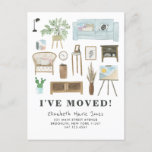 Cute I've Moved Boho Watercolor Home Decor Moving Announcement Postcard
