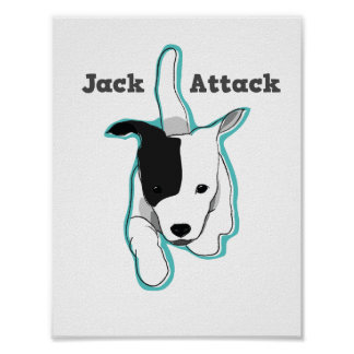 """Cute """"Jack Attack"""" Jack Russell Puppy Poster"""