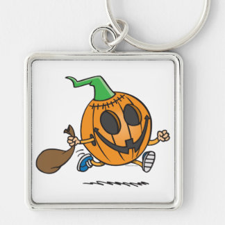 cute jack-o-lantern pumpkin cartoon character Silver-Colored square keychain