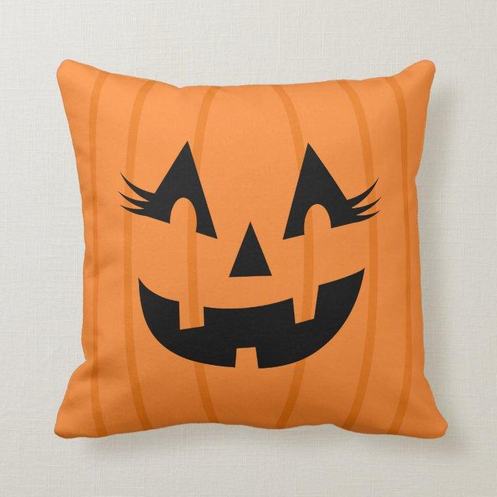 Cute Jack O Lantern With Lashes Orange Halloween Throw Pillow Zazzle Com