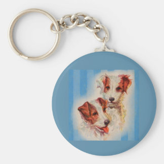 CUTE Jack Russell terriers illustration Keychain