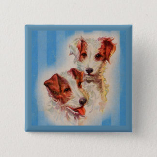 CUTE Jack Russell terriers illustration Pinback Button