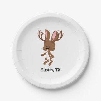 Cute Jackalope - Austin, Texas Paper Plate