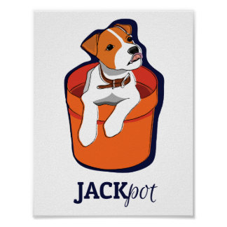 """Cute """"Jackpot"""" Jack Russell Puppy Poster"""
