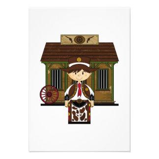 Cute Jailhouse Cowboy RSVP Card Personalized Announcements