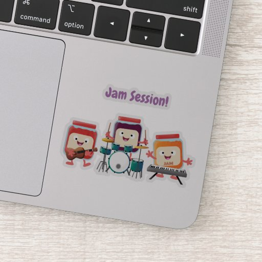 Cute jam session cartoon musician humour sticker