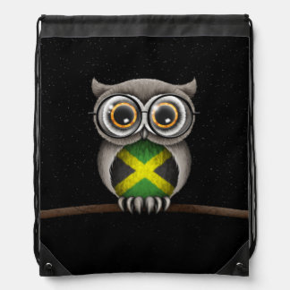 Cute Jamaican Flag Owl Wearing Glasses Cinch Bags