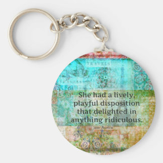 Cute Jane Austen quote from Pride and Prejudice Keychain