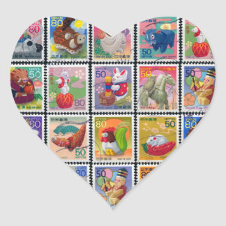 Cute Japan Year of Animal Stamp Pattern Heart Sticker