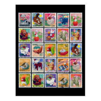 Cute Japan Year of Animal Stamp Pattern Postcard