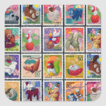 Cute Japan Year of Animal Stamp Pattern Square Sticker