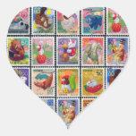 Cute Japan Year of Animal Stamp Pattern Heart Sticker
