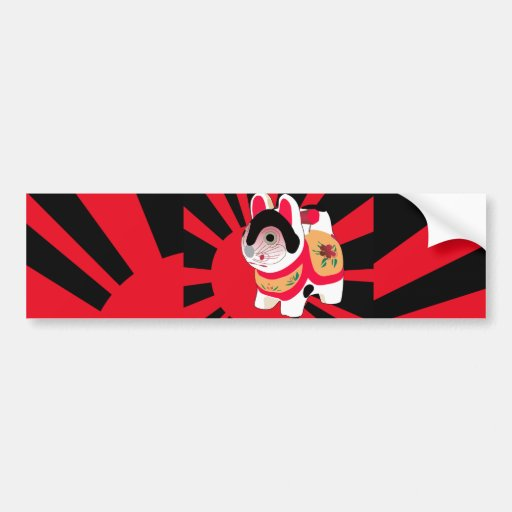 Cute Japanes Fortune Lucky Tiger Car Bumper Sticker