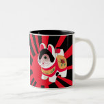 Cute Japanes Fortune Lucky Tiger Two-Tone Coffee Mug