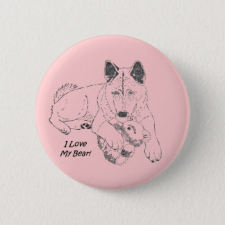 Cute Japanese akita with pink teddy bear art Pinback Button