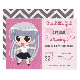 Japanese anime invitations zazzle cute japanese anime girl birthday party invitation filmwisefo