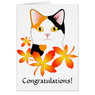 Cute Japanese Bobtail Cat Congratulations card