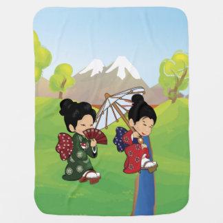 Cute Japanese Girls Walking Stroller Blanket
