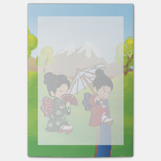 Cute Japanese inspired Girls walking Post-it® Notes
