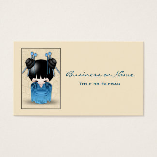 Cute Japanese Kokeshi Doll Dressed In Blue Business Card