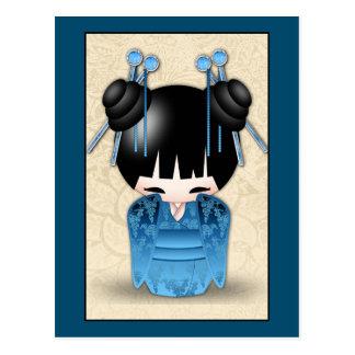 Cute Japanese Kokeshi Doll Dressed In Blue Postcard