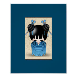 Cute Japanese Kokeshi Doll Dressed In Blue Poster
