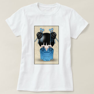 Cute Japanese Kokeshi Doll Dressed In Blue T-Shirt