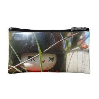 Cute Japanese Kokeshi Doll & Ladybird in Garden Makeup Bag