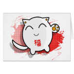 cute Japanese lucky cat design white/red Greeting Card