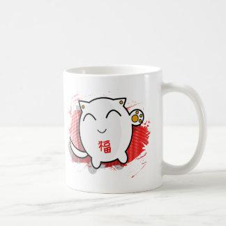 cute Japanese lucky cat design white/red Classic White Coffee Mug