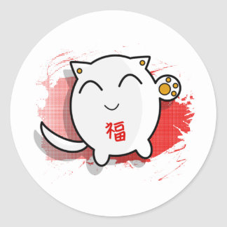 cute Japanese lucky cat design white/red Classic Round Sticker