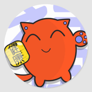 cute japanese lucky cat - red classic round sticker