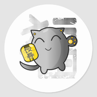 cute Japanese lucky cat - silver Classic Round Sticker
