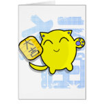 cute japanese lucky cat - yellow greeting cards