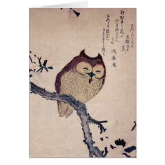 Cute Japanese Smiling Owl Cards