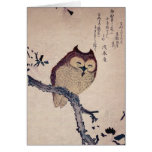 Cute Japanese Smiling Owl Greeting Card