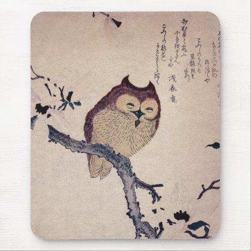 Cute Japanese Smiling Owl Mousepad