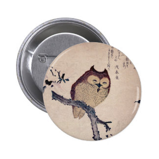 Cute Japanese Smiling Owl Pinback Button