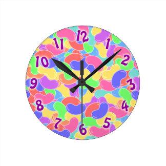 Cute Jelly Bean Jamboree Round Clock