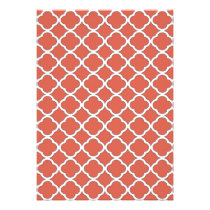 Cute Jelly Bean Orange Quatrefoil Maroccan Pattern Card
