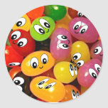 Cute Jelly Bean Smileys Classic Round Sticker