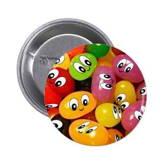 Cute Jelly Bean Smileys Pinback Button