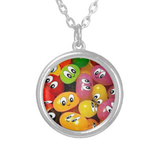 Cute Jelly Bean Smileys Silver Plated Necklace
