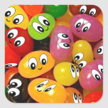 Cute Jelly Bean Smileys Square Sticker
